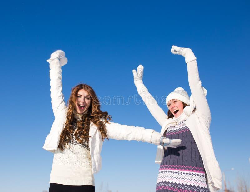 Dos novias se divierten en el día de invierno foto de archivo