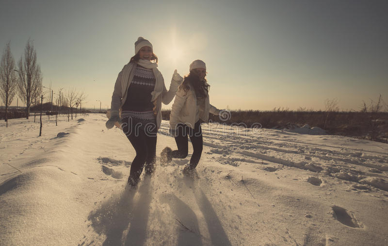 Dos novias se divierten en el día de invierno imágenes de archivo libres de regalías