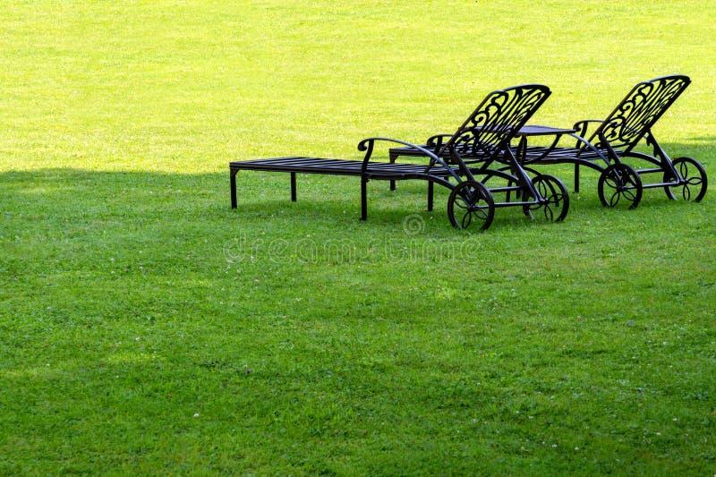 Dos ociosos se están colocando en un jardín sombrío en un césped verde imágenes de archivo libres de regalías