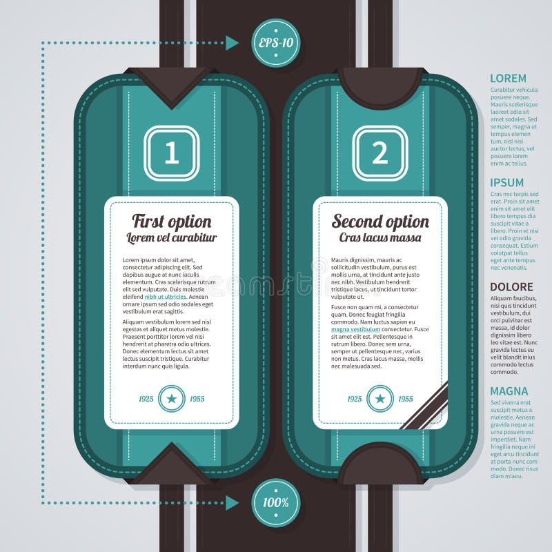 Dos opciones numeradas en estilo retro Útil para el diseño web, la publicidad o las presentaciones EPS10 libre illustration