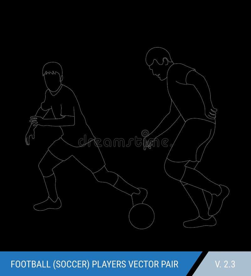 Dos opositores del fútbol de diversos equipos están luchando para la bola Jugadores de fútbol, el defensor y lucha del atacante p libre illustration