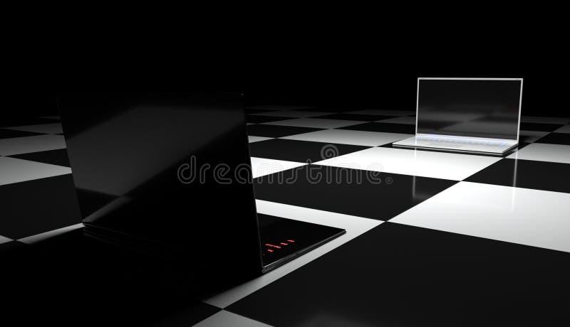 Dos ordenadores portátiles en el tablero de ajedrez. fotografía de archivo