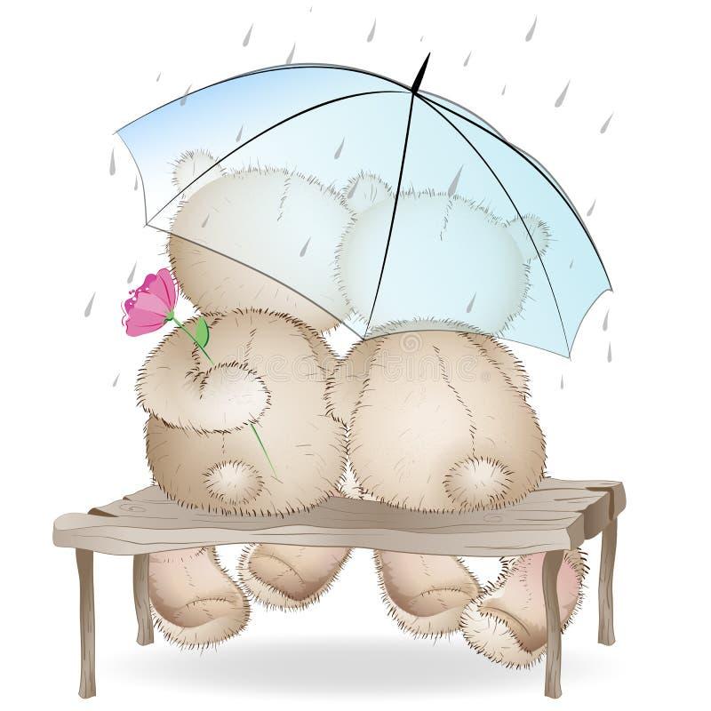 Dos osos de los amantes que se sientan en un banco debajo de un paraguas ilustración del vector