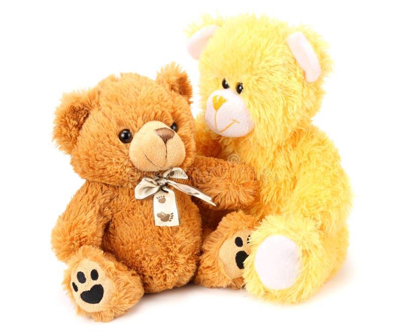 Dos osos de peluche del juguete aislados en el fondo blanco fotografía de archivo