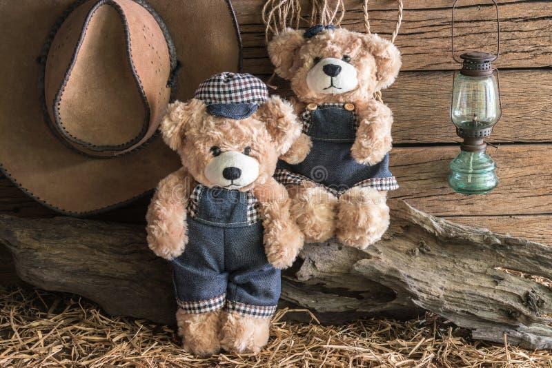 Dos osos de peluche en estudio del granero fotografía de archivo