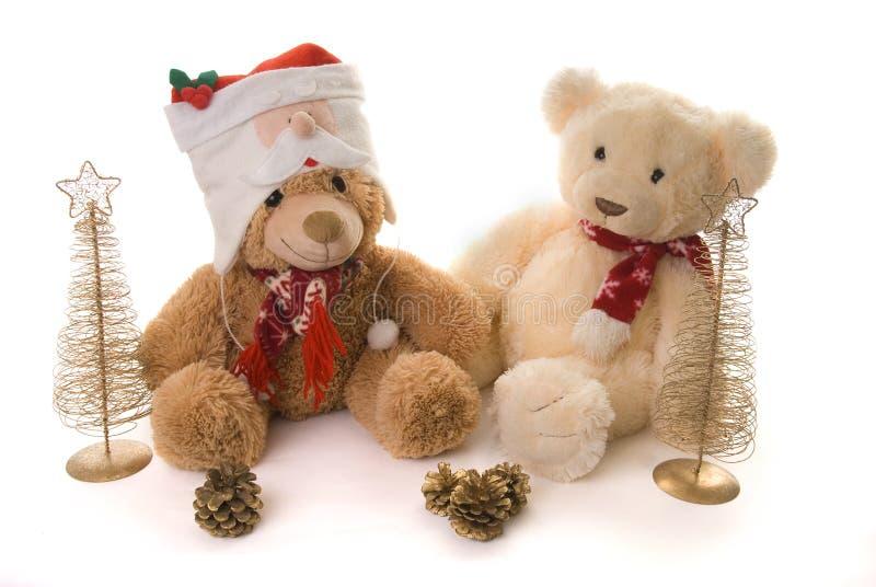 Dos osos de peluche en una escena de la Navidad fotografía de archivo