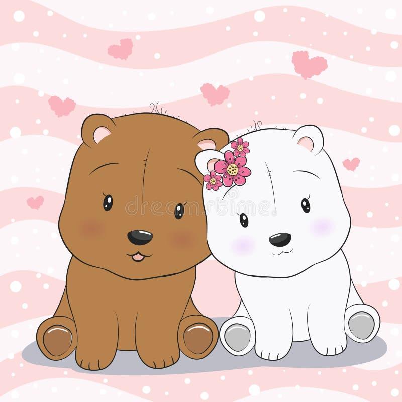 Dos osos de peluche lindos en amor ilustración del vector