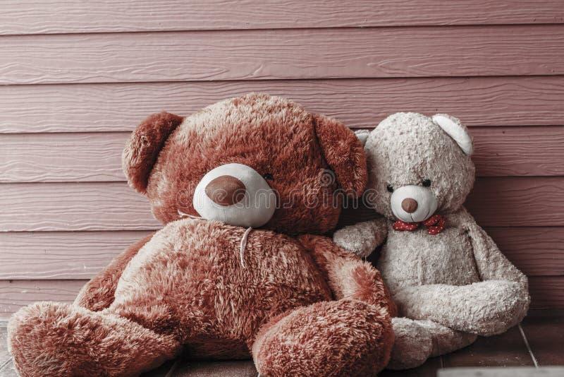 Dos osos de peluche que se sientan en el piso foto de archivo