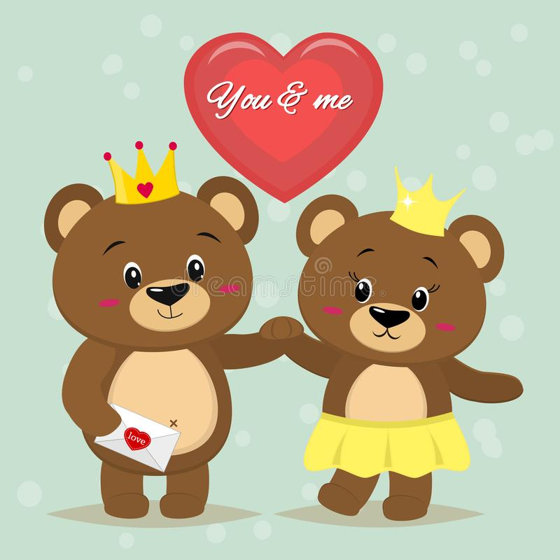 Dos osos marrones hermosos con las coronas en sus cabezas se colocan con sus manos, un corazón rojo en un estilo de la historieta libre illustration