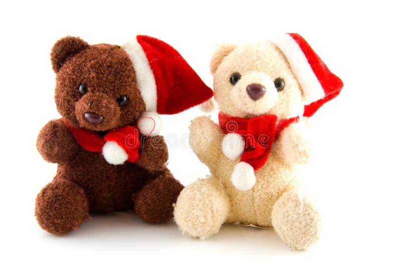 Dos osos rellenos de la Navidad fotos de archivo