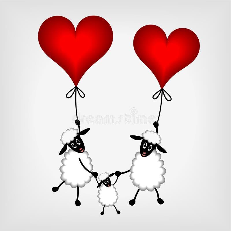 Dos ovejas con los corazones rojos - globo y cordero libre illustration