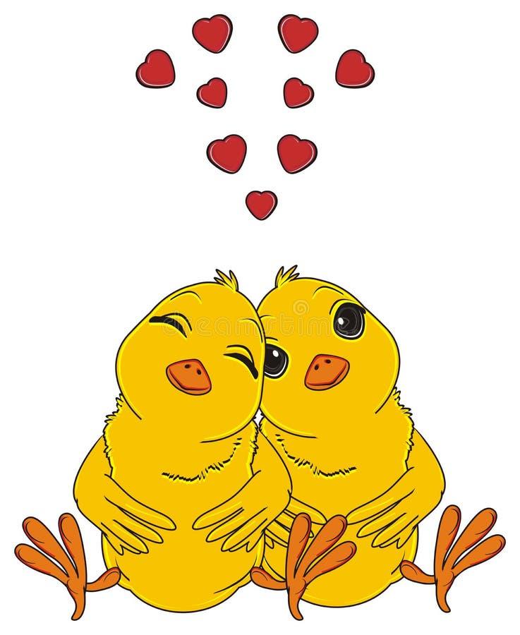 Dos pájaros amarillos en amor stock de ilustración