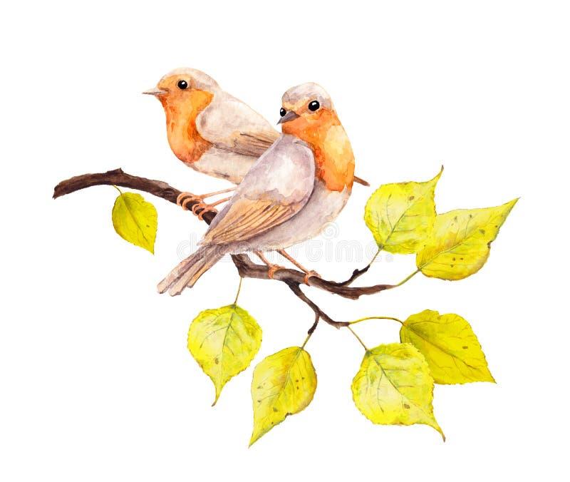 Dos pájaros con amarillo del otoño salen de la rama watercolor fotos de archivo