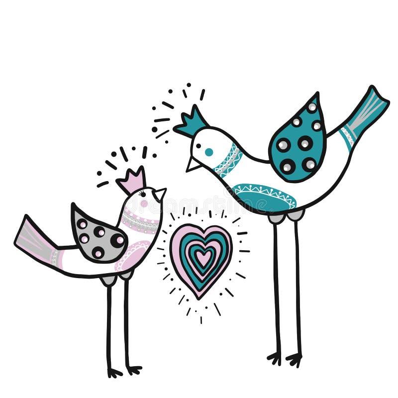 Dos pájaros del amor con el ornamento del corazón del color Concepto del amor Ejemplo del vector EPS 10 stock de ilustración