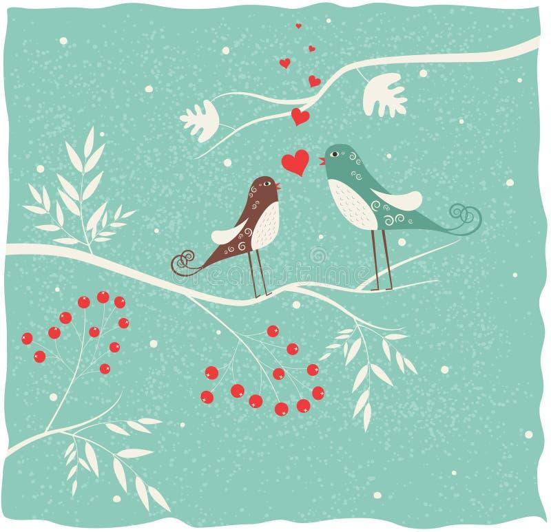 Dos pájaros en amor en invierno. ilustración del vector