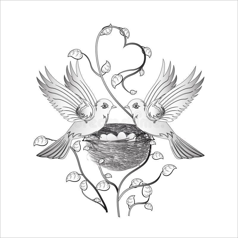 Dos pájaros en amor en una jerarquía ilustración del vector