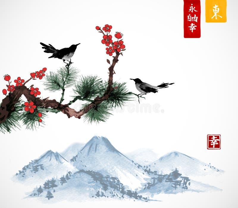 Dos pájaros en rama de árbol de Sakura y de pino y la montaña de Fujyama ilustración del vector