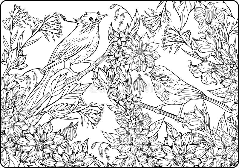 Dos pájaros en ramas y porciones de flores ilustración del vector