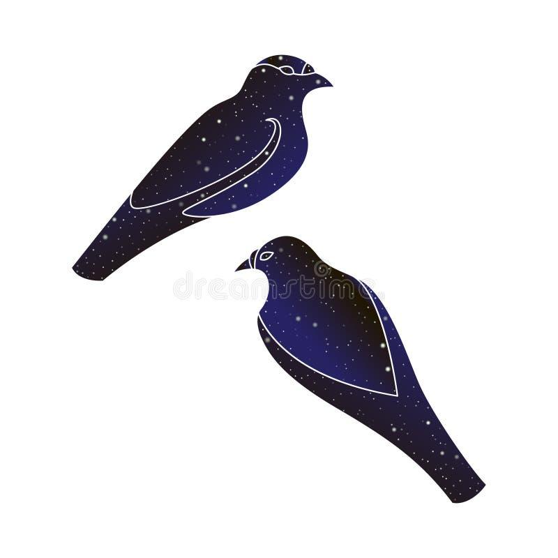 Dos pájaros Línea ejemplo animal, silueta del vector del color del cielo nocturno aislada en el fondo blanco stock de ilustración