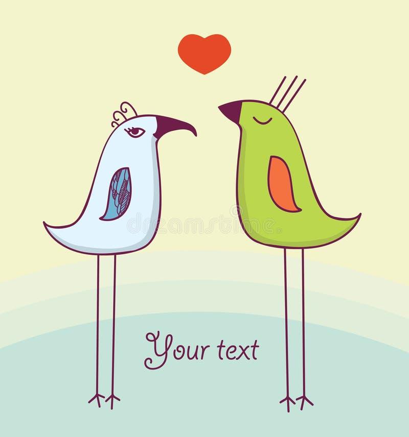 Dos pájaros lindos en amor imagenes de archivo