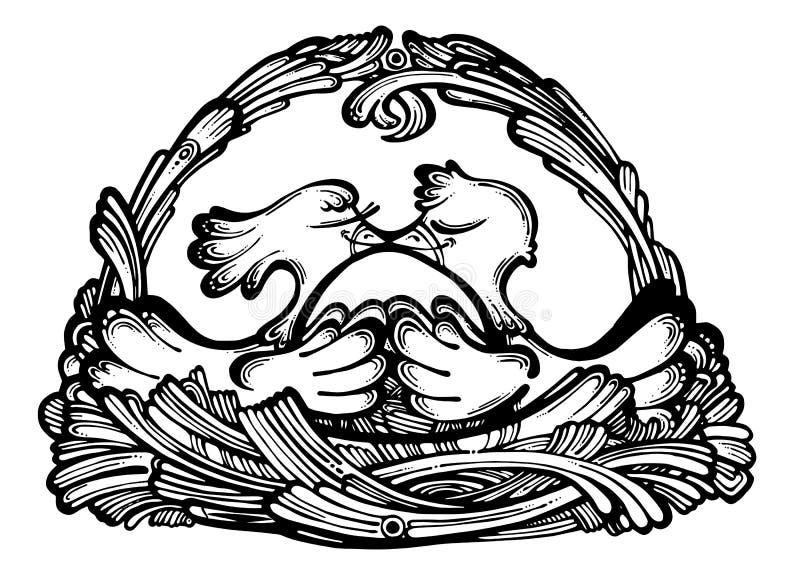 Dos pájaros lindos en la jerarquía libre illustration