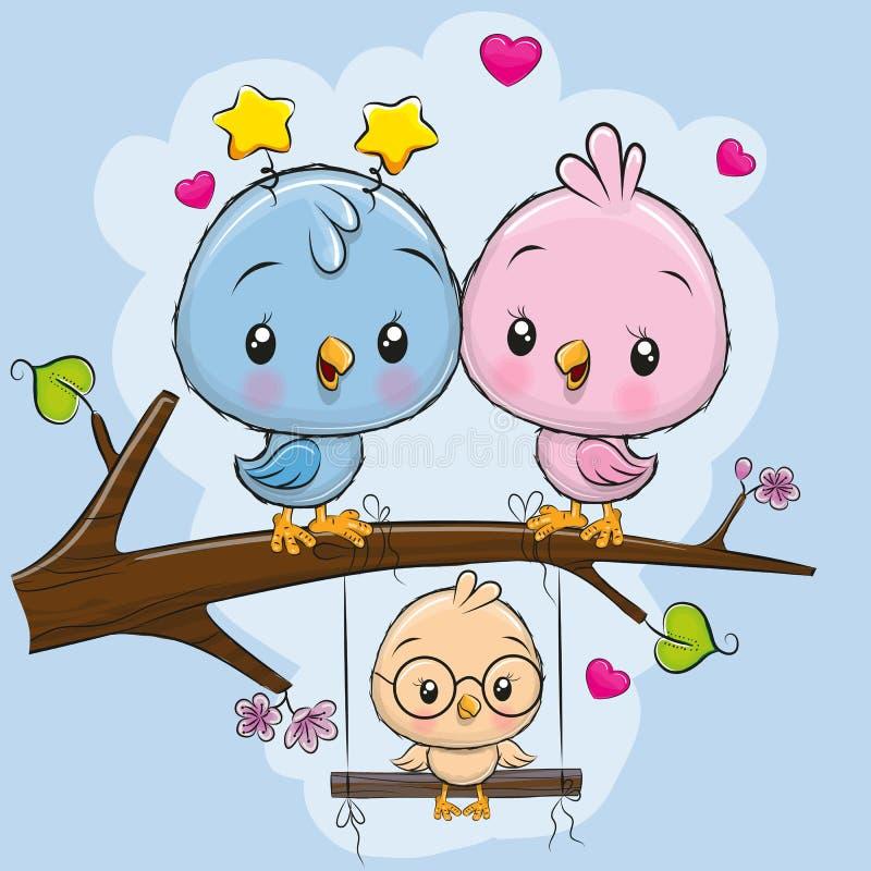 Dos pájaros lindos y un polluelo stock de ilustración