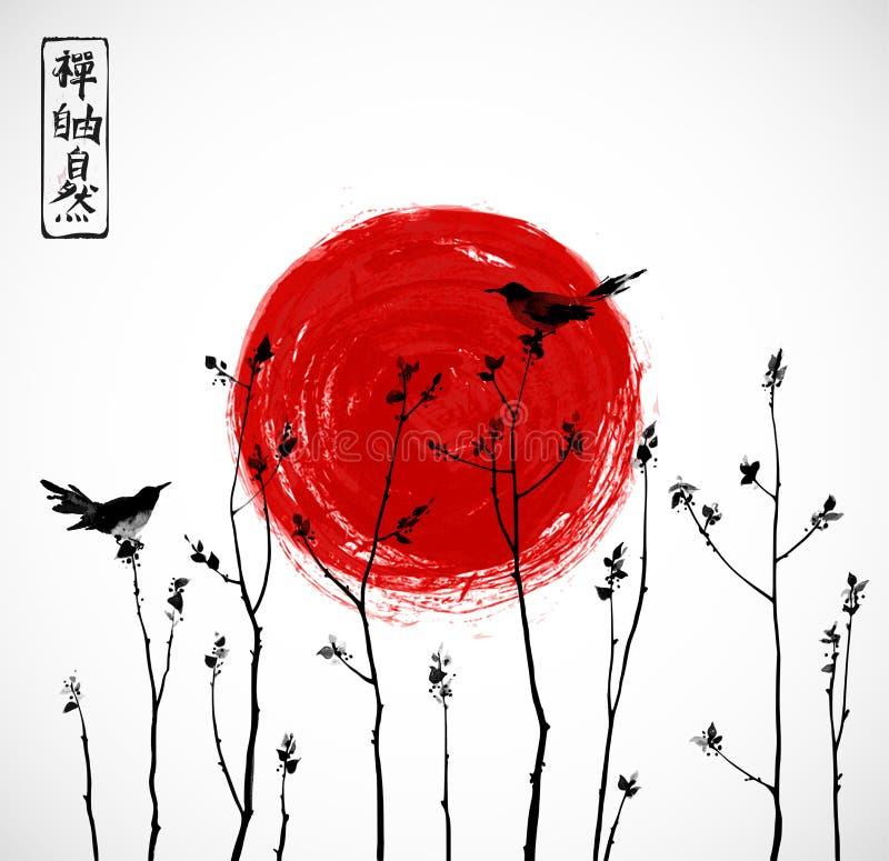 Dos pájaros negros en ramas de árboles y el sol rojo grande Contiene los jeroglíficos - zen, libertad, naturaleza ilustración del vector