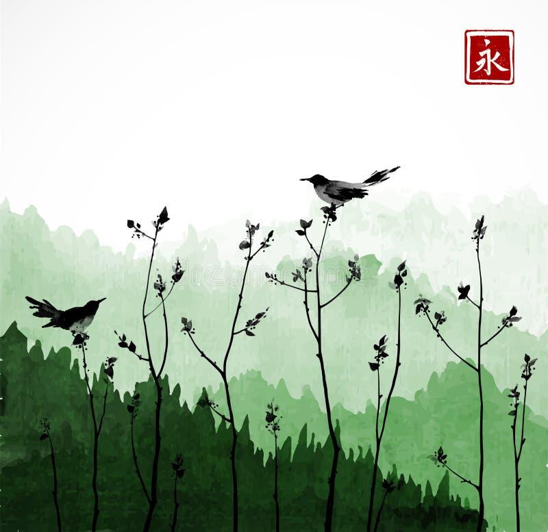 Dos pájaros negros en ramas de árboles y montañas con los árboles forestales Jeroglífico - eternidad libre illustration