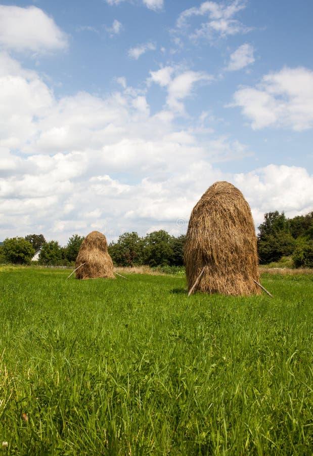 Dos pajares en los Cárpatos ucranianos foto de archivo
