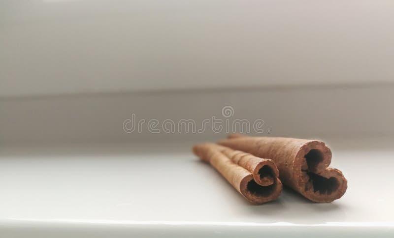 Dos palillos de canela en el fondo blanco fotografía de archivo
