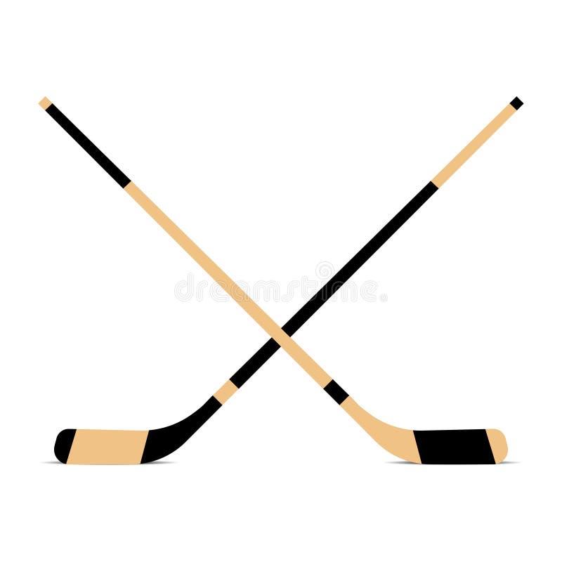 Dos palillos de hockey en el fondo blanco Vector stock de ilustración