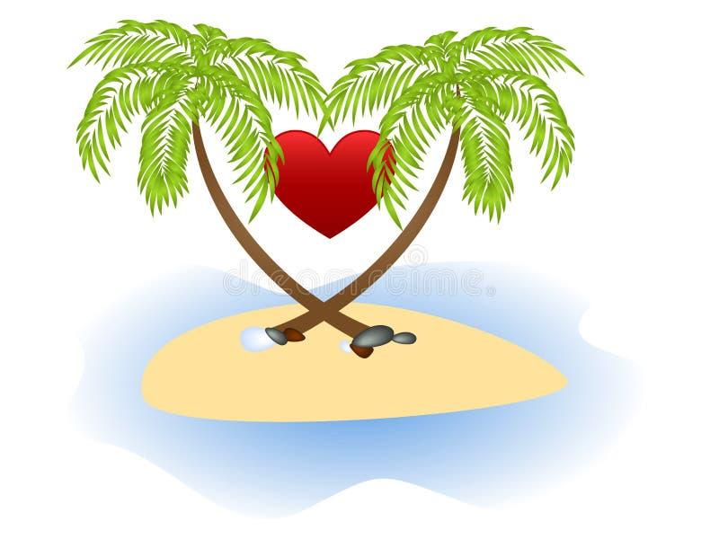 Dos palmas y corazón rojo stock de ilustración