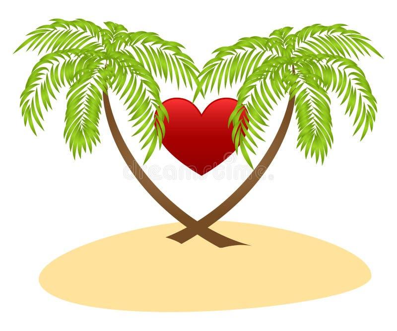 Dos palmas y corazón rojo ilustración del vector