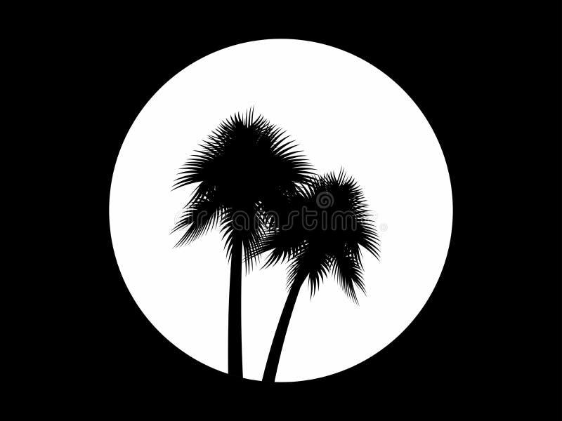 Dos palmeras en el fondo de la Luna Llena, logotipo blanco y negro Árboles tropicales Vector ilustración del vector