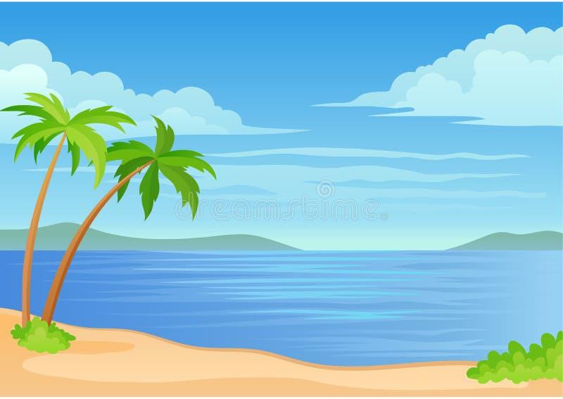Dos palmeras y un arbusto por el mar Ilustraci?n del vector en el fondo blanco stock de ilustración