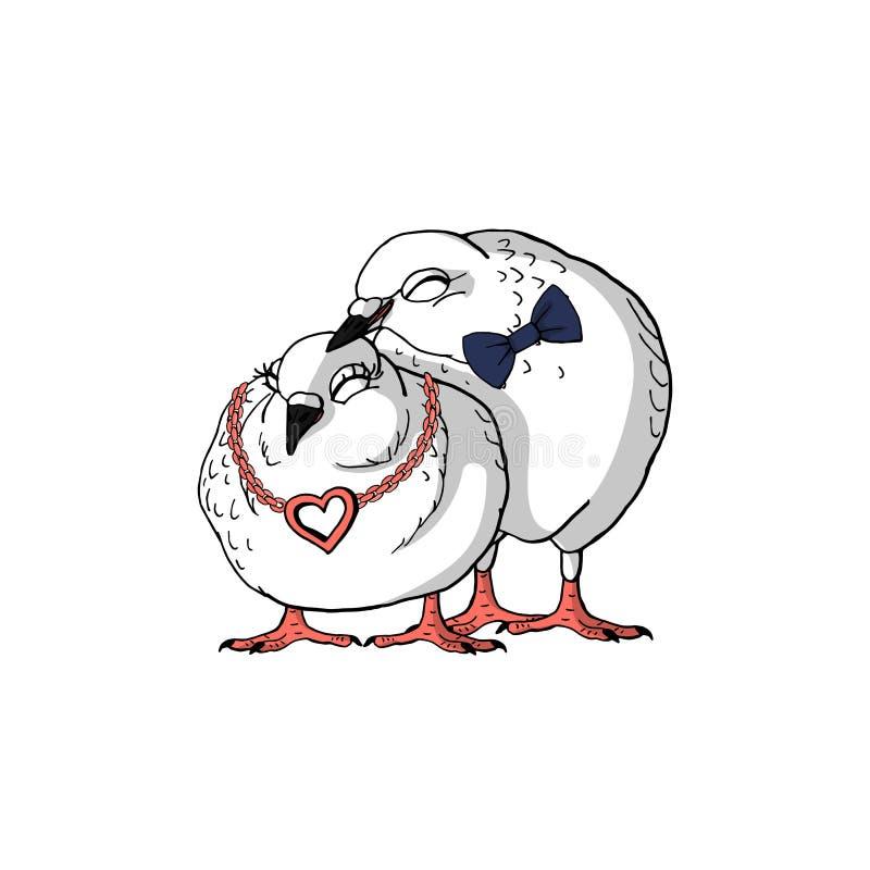 Dos palomas blancas lindas exhaustas de la mano con el arco y el collar rosado del corazón, par cariñoso dulce de palomas stock de ilustración