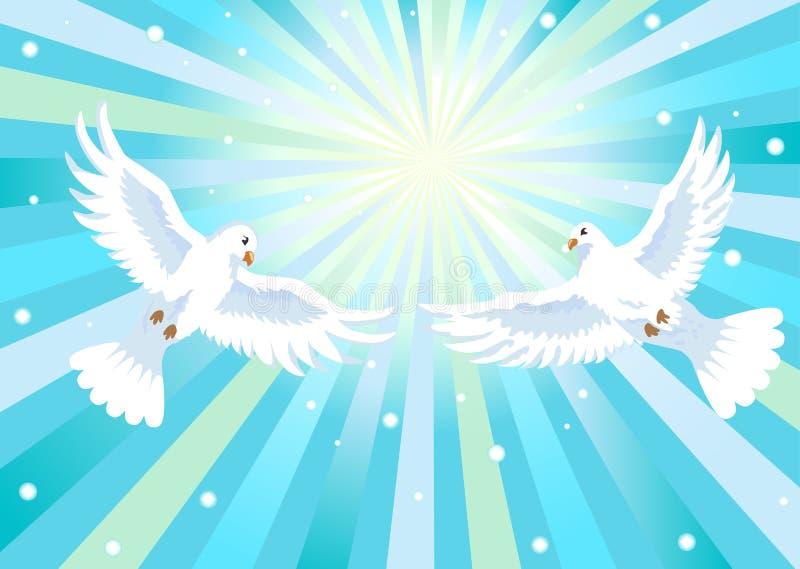Dos palomas con la cruz ilustración del vector