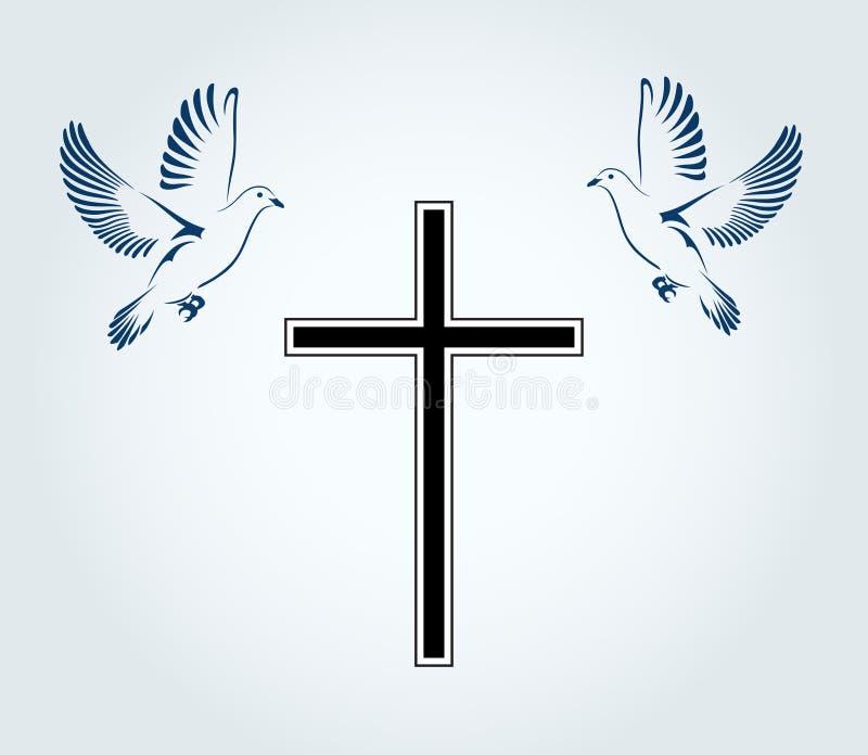 Dos palomas que vuelan con un símbolo de la religión Cruz Paloma de la paz Ilustración del vector stock de ilustración