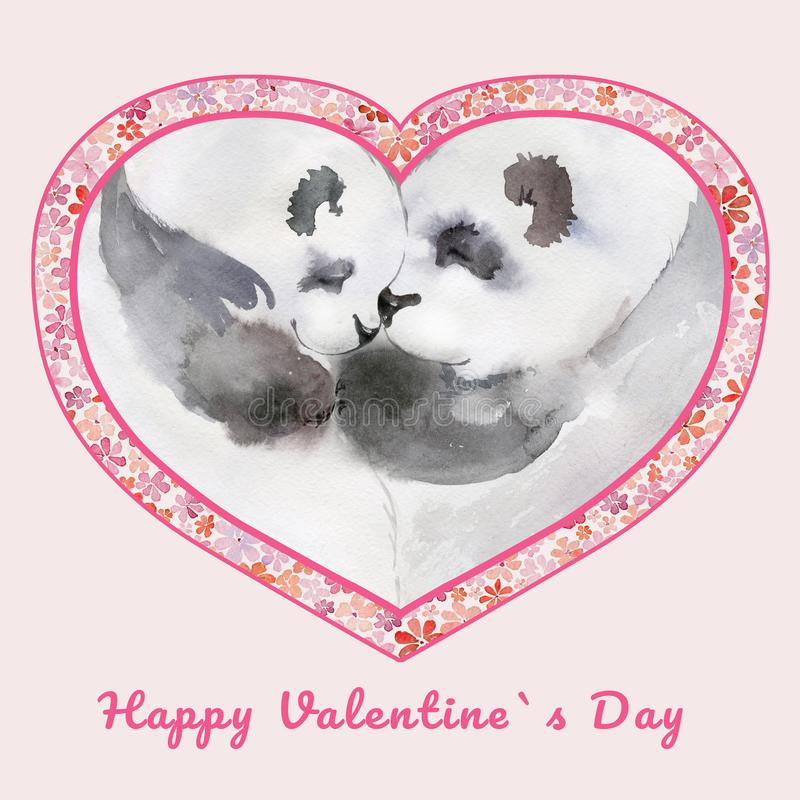 Dos pandas que se besan en marco en forma de corazón con las pequeñas flores Día feliz del ` s de la tarjeta del día de San Valen ilustración del vector