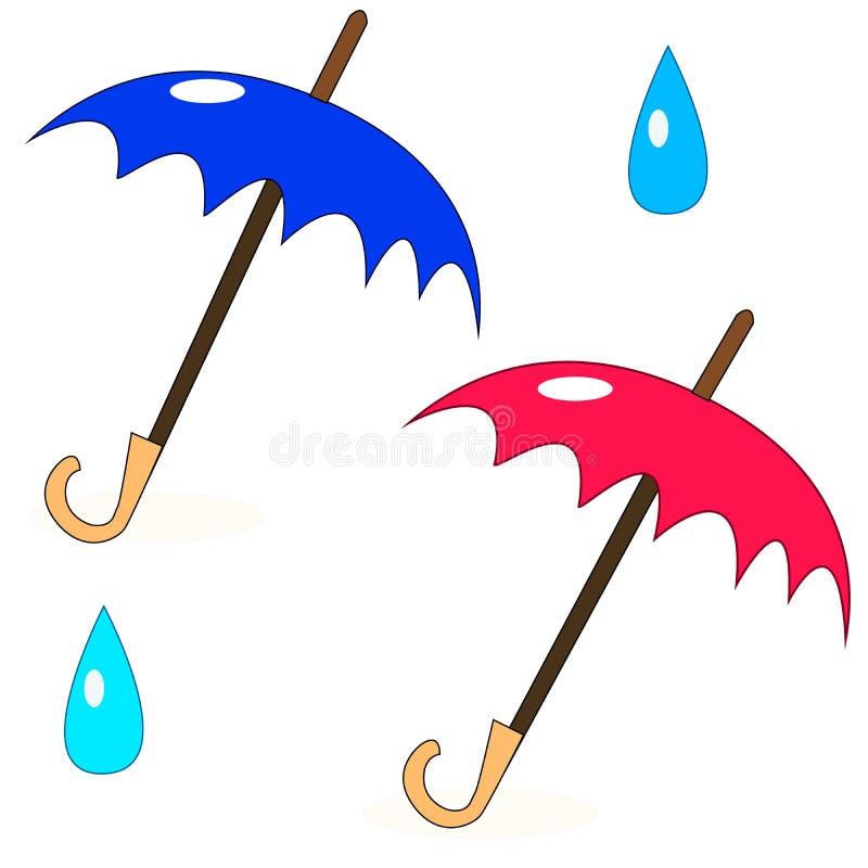 Dos paraguas simples ilustración del vector