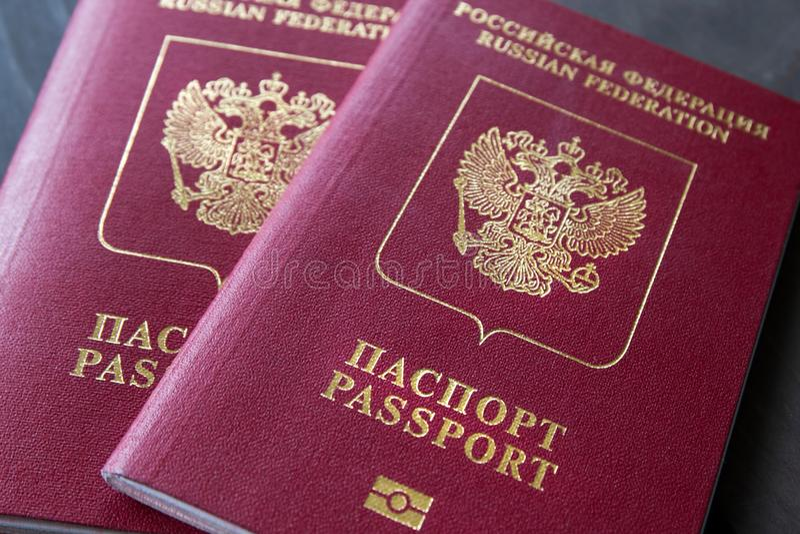 Dos pasaportes en un fondo neutral gris, primer fotografía de archivo libre de regalías