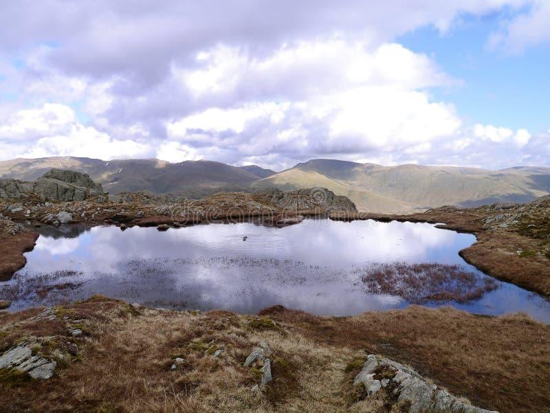 Dos patos en el pequeño Tarn en las montañas imagenes de archivo