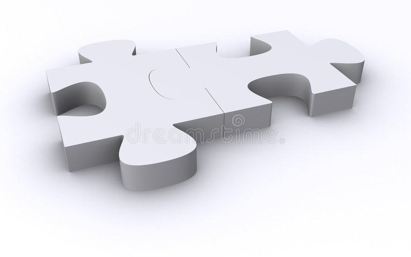 Dos pedazos blancos del rompecabezas stock de ilustración