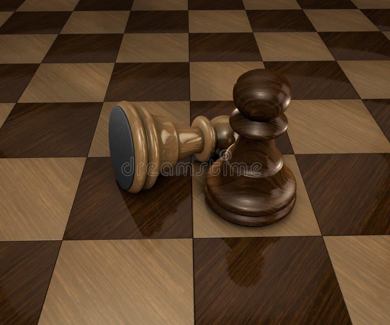 Dos pedazos del empeño del ajedrez en tablero de ajedrez a cuadros ilustración del vector