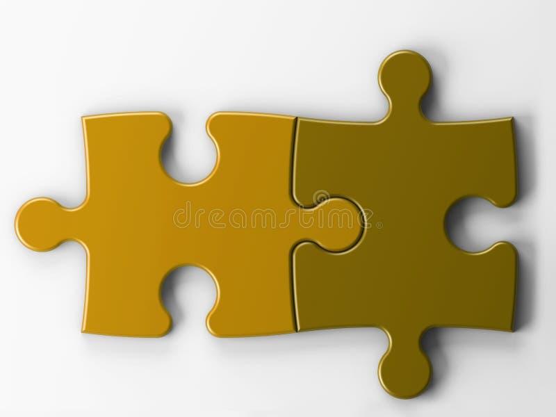 Dos pedazos del rompecabezas con el camino de recortes stock de ilustración