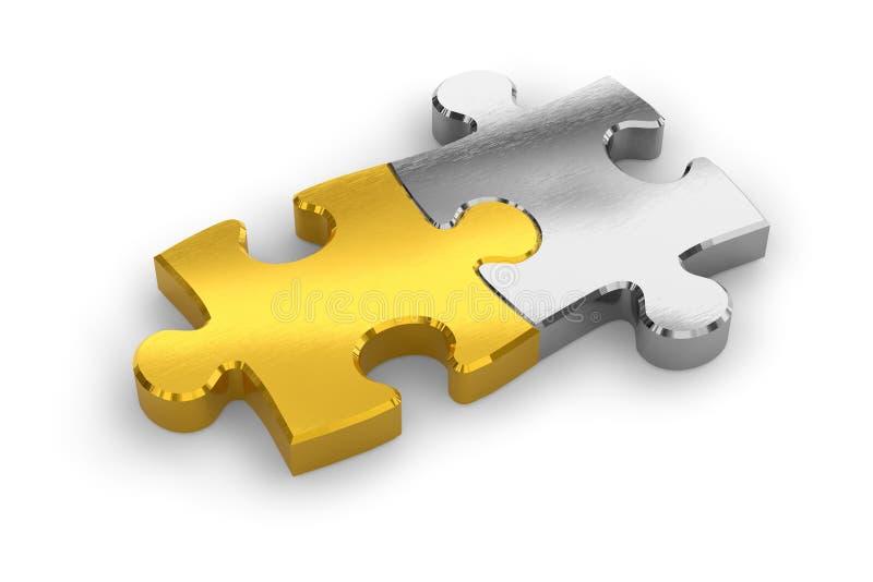Dos pedazos unidos del rompecabezas stock de ilustración