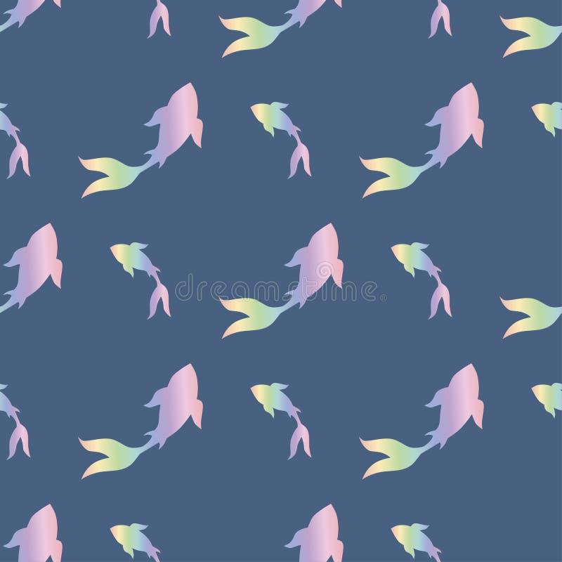 Dos peixes japoneses da carpa do koi-koi do arco-íris teste padrão infinito ilustração royalty free