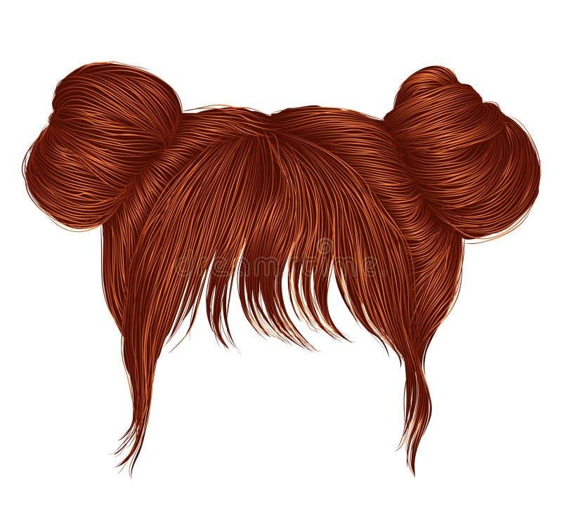Dos pelos de los bollos con colores rojos del jengibre del pelirrojo de la franja estilo de la belleza de la moda de las mujeres libre illustration