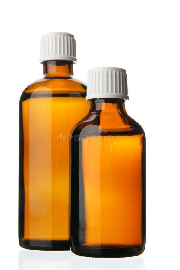 Dos pequeñas botellas con la droga imagen de archivo libre de regalías