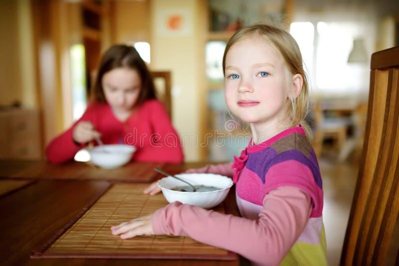 Dos pequeñas hermanas lindas que comen una sopa en comedor acogedor Niños que cenan en casa imágenes de archivo libres de regalías